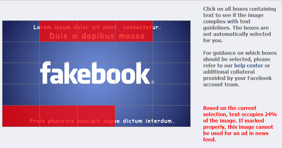 Porcentagem de texto em  anuncios no Facebook anúncios Facebook